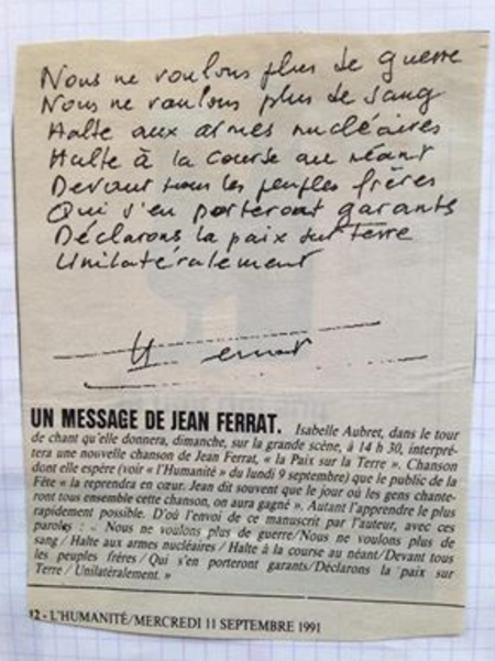 "1991)  Article de L'HUMANITE ""  MESSAGE DE JEAN FERRAT ""  du 11 Septembre 1991"