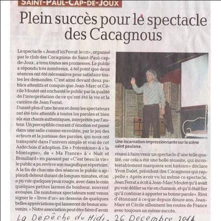 """2014)  Spectacle """" Jean d'ici FERRAT le cri """" à Saint-Paul-Cap-de-Joux (81120) le 26 Décembre 2014"""