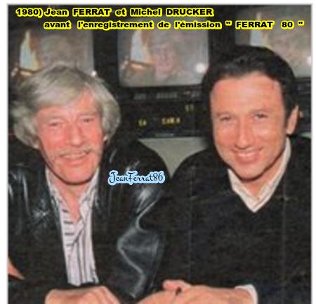 """1980) Jean FERRAT et Michel DRUCKER avant l'enregistrement de l'émission  """" FERRAT 80  """""""