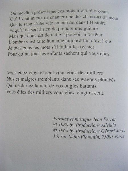 2006) Hommage à Jean FERRAT  de Michel VAN HAMME (avec Photos + des extraits de chansons)