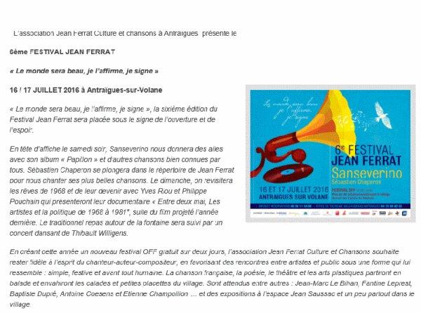 2016)  6ème Festival Jean FERRAT les 16-17 Juillet 2016 à Antraigues-sur-Volane (07530)