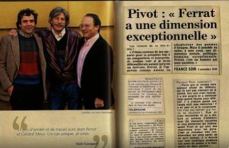 """1985)  PIVOT  """"  FERRAT à une dimension exceptionnelle """"  article de France Soir"""