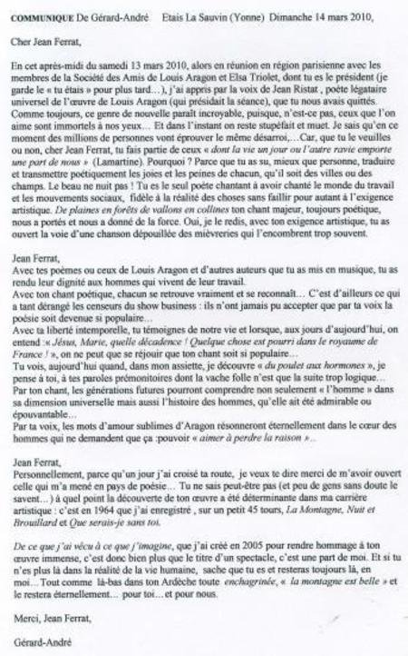 """2010)  Extrait du journal de  """"  L'YONNE """"  du 14 mars 2010 annonçant le décès de Jean FERRAT"""