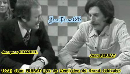 "1972)  Jean FERRAT et Jacques CHANCEL lors de l'émission  "" Le Grand Echiquier """