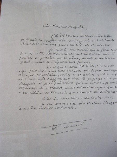 1991)  Lettre de Etienne MOUGEOTTE directeur de la chaîne de TF1 à Jean FERRAT  + la réponse de Jean FERRAT