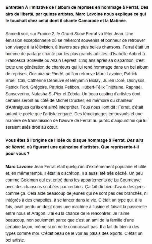 """2015)  Marc LAVOINE : """" Un ami de la famille, même si on ne le connaissait pas """" article de L'HUMANITE """" de mars 2015"""