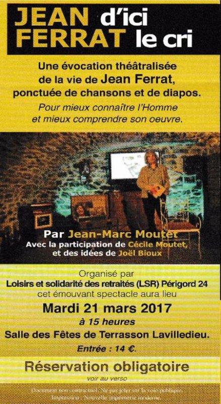 Spectacle Jean d'ici FERRAT le cri à Terrasson Lavilledieu (24120)  le 21 mars 2017