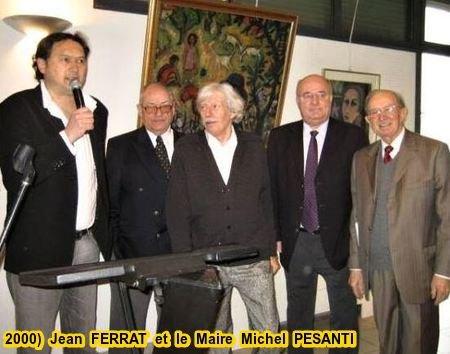 2000) Jean FERRAT et  Michel PESANTI le maire d'Antraigues-sur-Volane (07530)