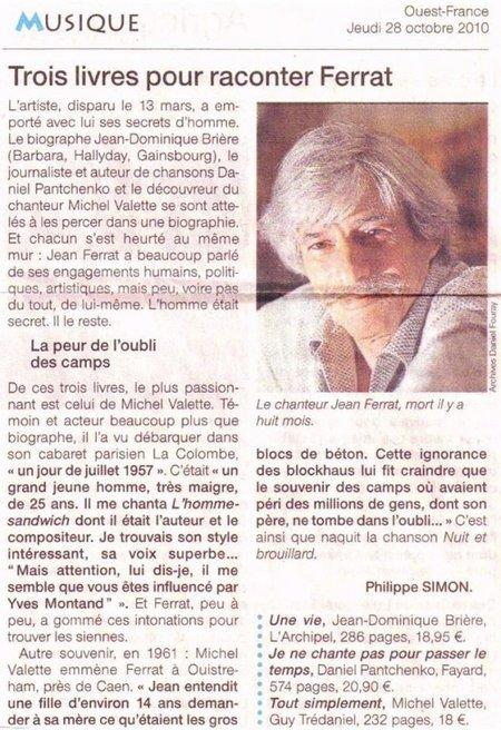 2010) Trois livres pour raconter Jean FERRAT