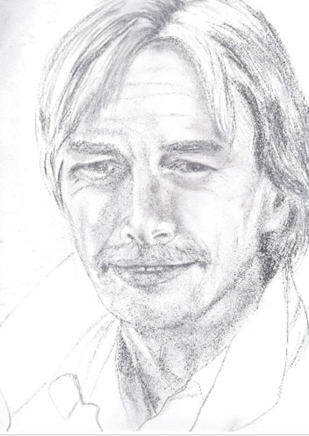Caricature au crayon noir de Jean FERRAT cadeau de mon amie ANGEL076  et d'autres trouver sur le net