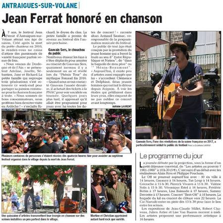 """2017)  Article de presse sur le  """" Festival Jean FERRAT """" à Antraigues"""
