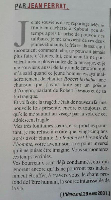 2001)  Article de L'Humanité écrit par Jean FERRAT