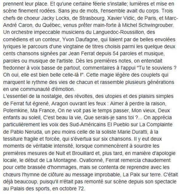 1998)  Hommage à Jean FERRAT à Alès avec 700 choristes