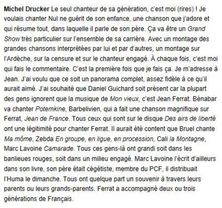 """2015)   Michel DRUCKER  """" Je me suis souvent battu pour Jean FERRAT """""""