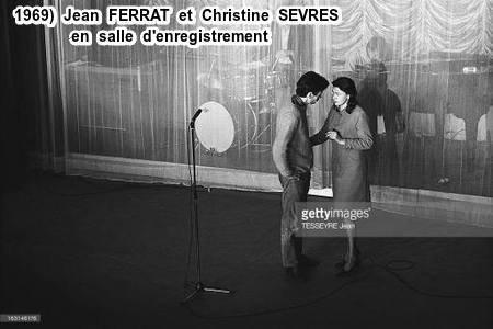 1969) Jean FERRAT et Christine SEVRES en salle d'enregistrement