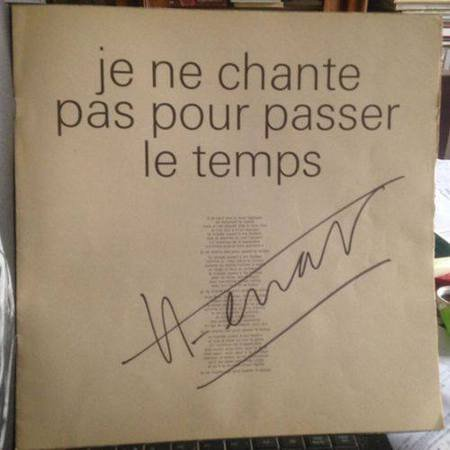 1965) Pochette de disque dédicacée par Jean FERRAT