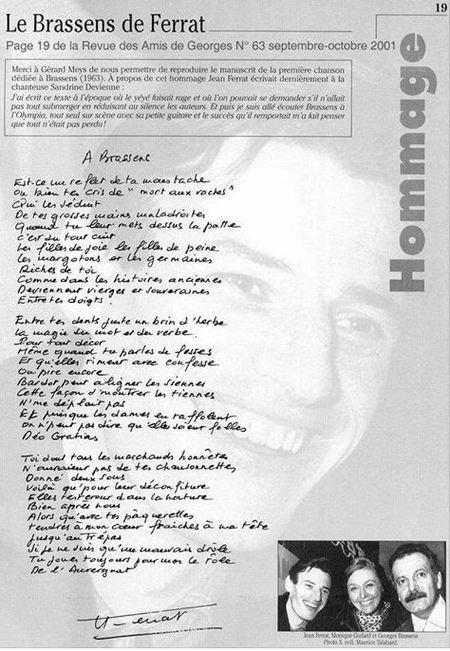 2001)   Le Brassens de FERRAT  de la revue des Amis de Georges n° 63 page 19
