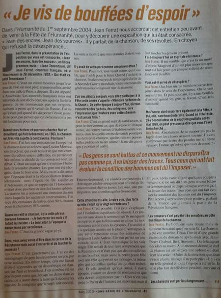 "2004)  Jean FERRAT  "" JE VIS DE BOUFFEES D'ESPOIR """