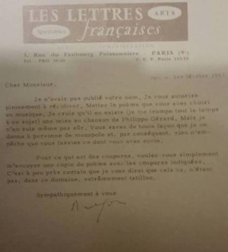 1963)   LETTRE DE LOUIS ARAGON à JEAN FERRAT