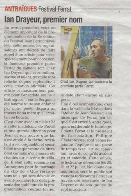 2018)  Ian DRAYEUR  premier nom au Festival Jean FERRAT