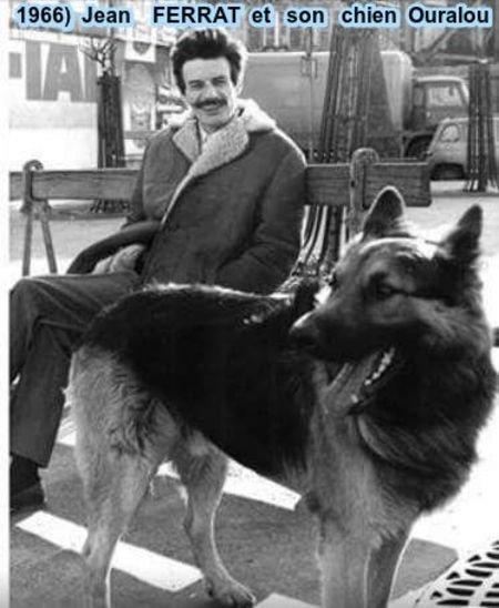 1966) Jean FERRAT et son chien Ouralou