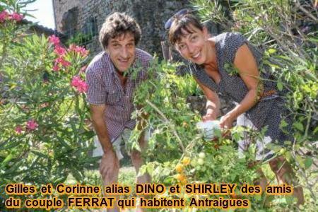 """2000) Gilles et Corinne  alias  """" DINO et SHIRLEY """" des amis du couple FERRAT qui habitent eux aussi à Antraigues"""