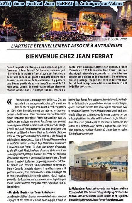 2018)  8ème Festival Jean FERRAT à Antraigues-sur-Volane