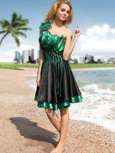 Longueur moderne genou vert perlé imité robe de cocktail en soie