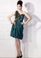 Belle Deep Green soie élastique d'une seule épaule fleur robe de soirée