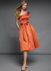 Robe de thé longueur demoiselle d'honneur d'une épaule Satin Orange Vintage