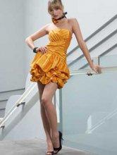 Orange taille bretelles en taffetas Empire robe de cocktail d'été