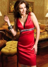 Red gaine Attractive Deep taille empire contre-cou perles été satin Homecoming robe de cocktail