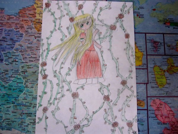 Vieux dessin n°1  ✮≈ Jeune fille au roses ≈✮