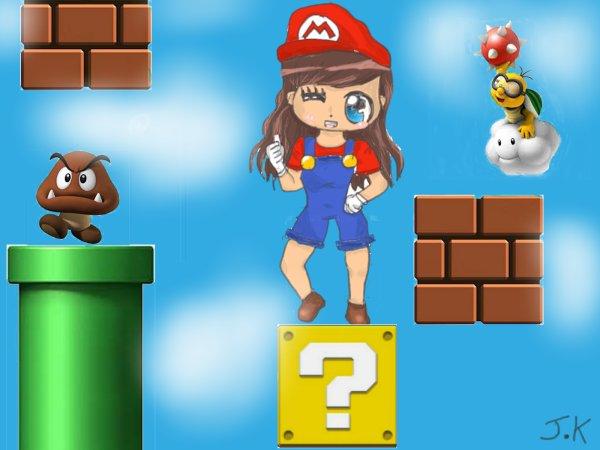 Concours n°1 et dessin à la tablette graphique n°2  ✮≈ Mario girl façon Chibi ≈✮