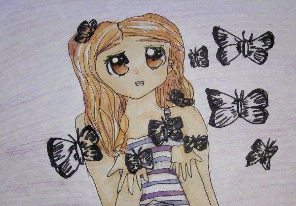 Dessin n°7 ✮≈ Jeune fille aux papillons ≈✮