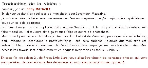 Shay fait la couverture du magazine Seventeen pour l'édition « Prom » du mois de décembre.