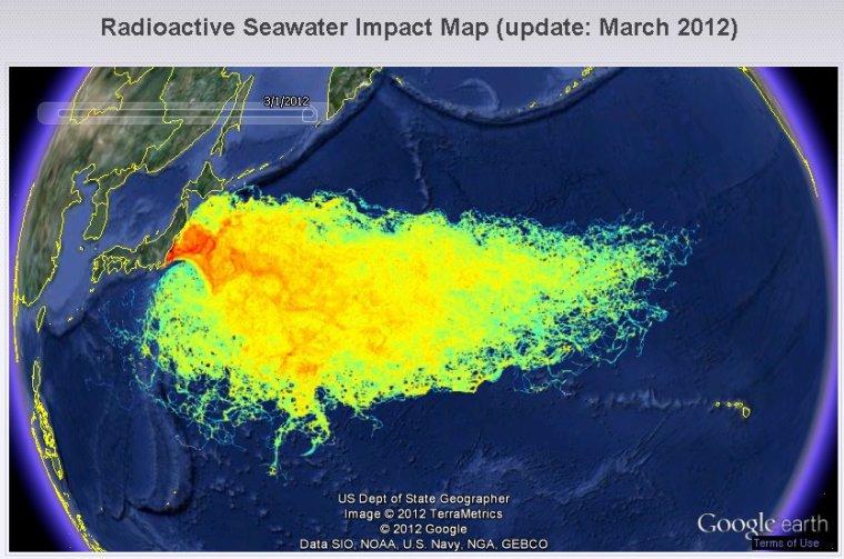 Carte de l'impact de la radioactivité sur l'océan après Fukushima….