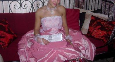 Robe de princesse bustier rose avec dentelle