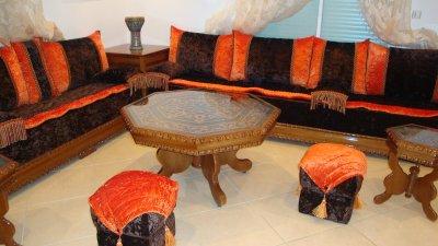 Salon Nekch Tissu Orange Marron 100 Oriental