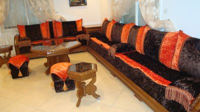 salon nekch tissu marron et orange mobra - 100% ORIENTAL