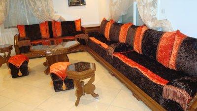 Charmant Salon Nekch Tissu Marron Et Orange Mobra