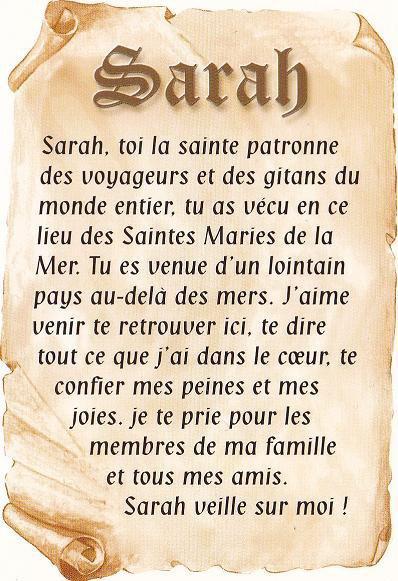 sarah la sainte patrone