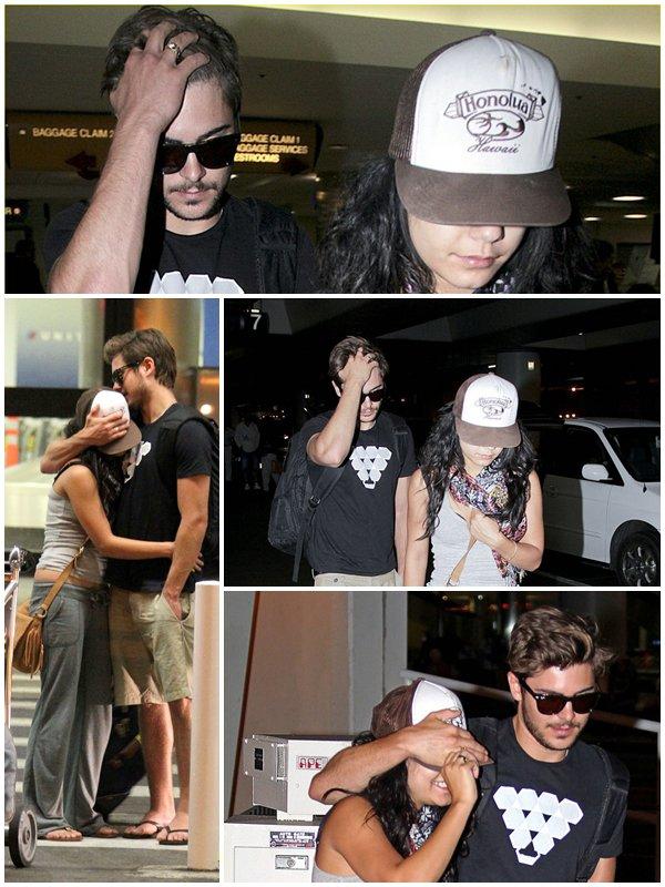 HOLIDAYS IN HAWAII - CANDID Vanessa et Zac arrivant à l'aérorport de L.A, le 25/08/2010