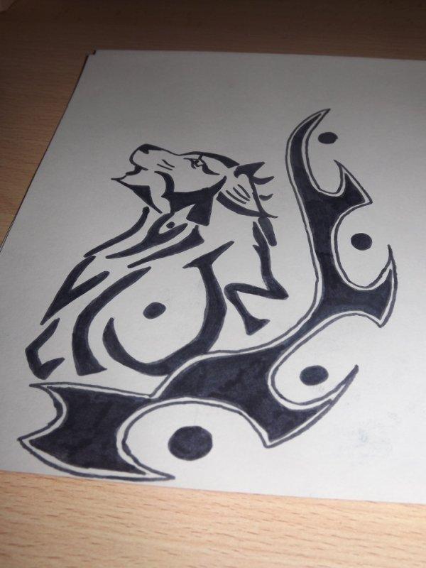 tribale tête de loup