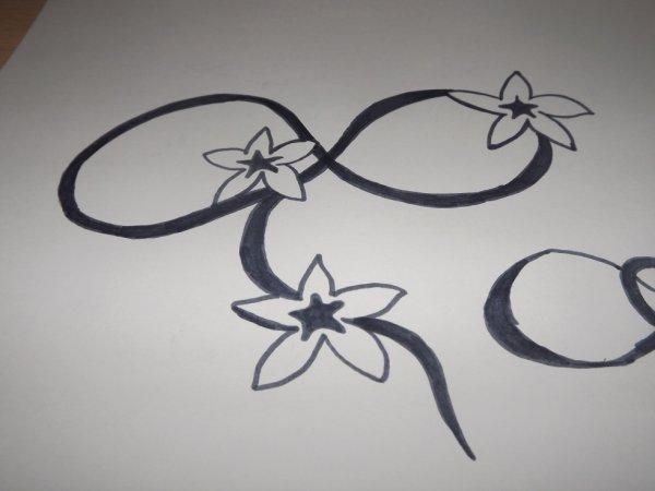 symbole de l'infinie avec fleur