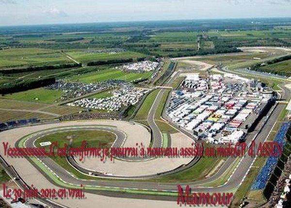 YESssssss ..... tous les espoirs n'étaient pas perdu, j'assisterai cette année encore à un 2ième  Moto GP en vrai .... Celui d'Assen le 30juin 2012 .