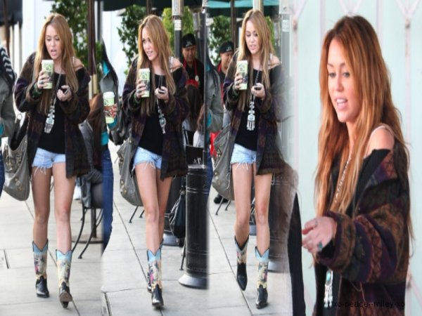 .  Miley Cyrus se promenant hier à West Hollywood. .