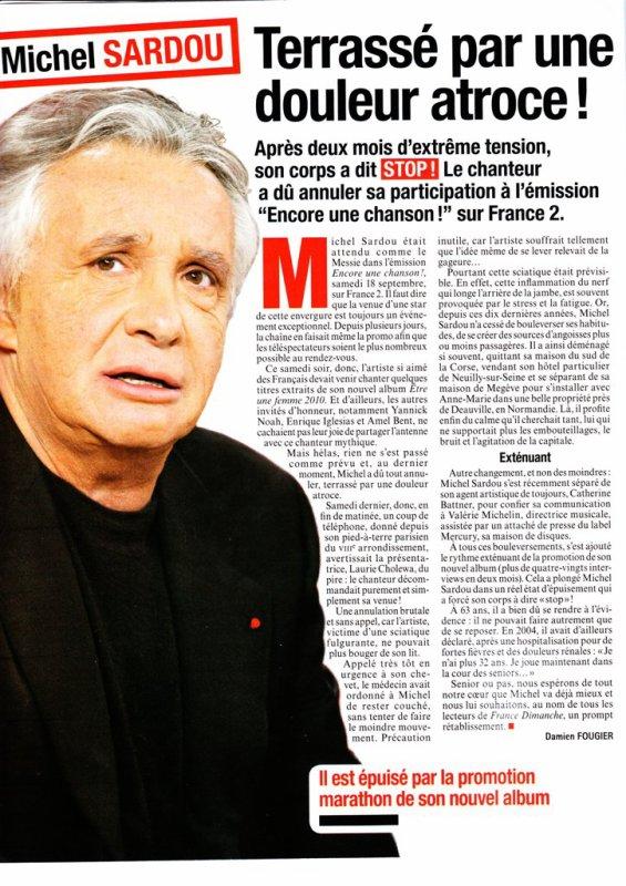 24 septembre 2010 - Article paru dans FRANCE DIMANCHE