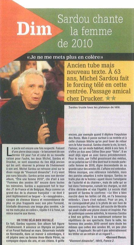 10 septembre 2010 - Article paru dans SUD MAG (presse belge)