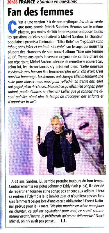 20 octobre 2010 - Article paru dans TELEMOUSTIQUE (presse belge)